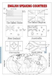 English Speaking Countries - ESL worksheet by Whizz Esl Worksheets For Beginners, Worksheets For Kids, Printable Worksheets, Free Printable, English Day, Learn English, Learning English For Kids, Teaching English, Countries And Flags