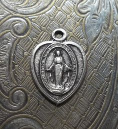Tiny Heart Shaped Silver Miraculous Holy Religious Medal Immaculate Mary Mother Of God, Made In Italy