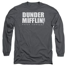 The Office/Dunder Mifflin Long Sleeve Adult T-Shirt 18/1 in Charcoal