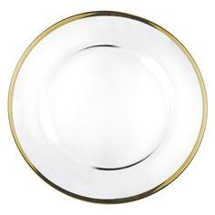 Sottopiatto Fascia oro - Novità 2015 da Preludio Noleggi! Realizzato in vetro con bordatura dorata, è ideale per matrimoni eleganti o eventi sfarzosi.
