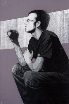 Matt Drinking Coffee, pastel and acrylic drawing by Stephen Whatcott