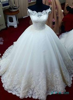 Dreamy lace off shoulder princess ball gown wedding dress