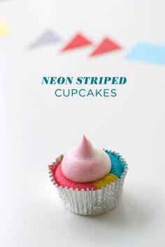 Neon Striped Cupcakes Tutorial | Coco Cake Land