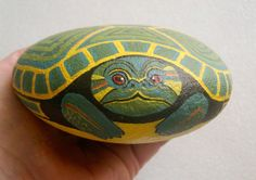 Turtle, private reserve collectible, weatherproof garden art, painted rocks by RockArtiste, $125.00
