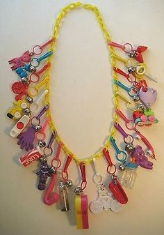 VINTAGE Retro Plastic Bell Clip CHARM NECKLACE Lot #6 Perfect For 80's PARTY!