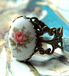Vintage Pink Rose Ring | May flowers bloom year-round with this vintage ring. Made in J... | Rings