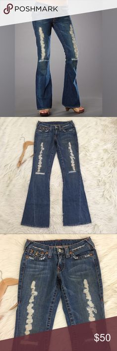 True Religion World Tour Joey Distressed Jeans True religion women's size 28 world tour section joey Jeans • Ripped and distressed • twisted Flare Leg • Button flap pockets • low rise • excellent condition no flaws  Waist flat: Inseam: Rise:  📌NO lowball offers 📌NO modeling 📌NO trades  Come check out the rest of my closet! I have various brands and ALL different sizes ❤️ True Religion Jeans Flare & Wide Leg