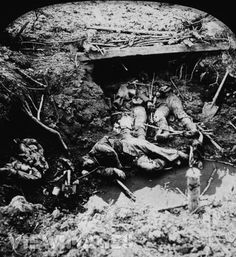 WWI trench after gas attack or assault. 1915