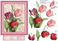 TULIPS IN RED decoupage on Craftsuprint designed by Janet Briggs - Red tulips card. Following on from the popularity of my pink version of this sheet, it is now available in reds and also lilacs. Pretty card topper and decoupage with blank sentiments tag for your own greeting. Suitable for a wide variety of female occasions, including mother's day, easter, female birthday etc. - Now available for download!