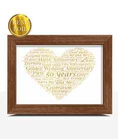 Golden Wedding 50th Anniversary Gift - Metallic Foiled Word Art PrintABC Prints There is nothing much bigger in a couple's life than celebrating 50 years of marriage! A Golden Wedding Anniversary is a truly momentous occasion and finding the perfect Golden Anniversary gift can be a challenge. This very Golden Wedding Foiled print is the perfect golden wedding anniversary gift. It is printed in our special gold metallic foil to give a truly spectacular finish. Each print is individually desi