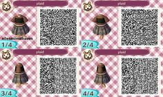 ACNL QR CODE-Black Plaid Skirt with Black Shear Top