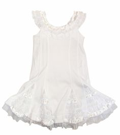 Kate Mack White Dipped in Ruffles Dress