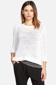 Eileen+Fisher+Three+Quarter+Sleeve+Cotton+Blend+Top+available+at+#Nordstrom
