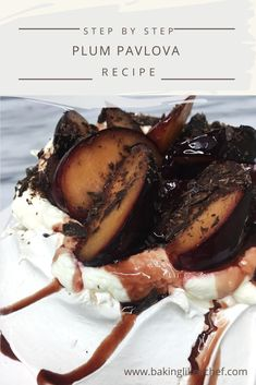 This Plum Pavlova topped with boozy poached plums and sprinkled with dark chocolate is the ultimate crowd-pleaser. Give everyone a spoon and let them dig in Party Desserts, Gluten Free Desserts, Summer Desserts, Pavlova Cake, Pavlova Recipe, Brownie Recipes, Cake Recipes, Dessert Recipes, Easy Snacks