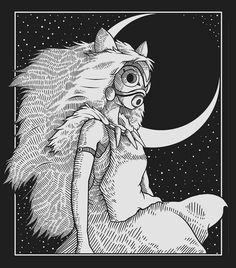 "Matt Reid 🌙 ( ""San from Princess Mononoke as a bit of linework practice. Studio Ghibli Art, Studio Ghibli Movies, Miyazaki Totoro, Manga Anime, Anime Art, Illustrations, Illustration Art, Ghibli Tattoo, Drawn Art"