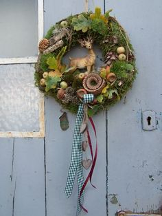 atmospheric natural wreath for hanging …… autumn … – Flowers Easter Wreaths, Holiday Wreaths, Large Flower Arrangements, Deco Wreaths, Welcome Wreath, Wooden Hearts, Flower Crafts, Diy And Crafts, Halloween