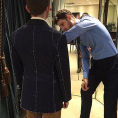 @samhzltn fitting a navy jacket in Loro Piana at 2nd fitting @loropianaofficial #canvasbyjhcutler #jhcutler #bespoketailor #est1884 #sydney #australia #mensluxury #gentleman #timeless #sartorial #elegance #fitting #bespokesuit #tailor #mensstyle #loropiana (at Canvas by JH Cutler)