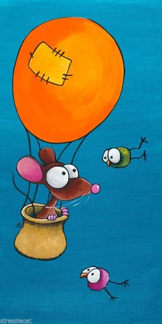Professional Art print acid free giclee Whimsical Mouse orange hot air balloon #IllustrationArt