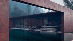 Fassade aus Cortenstahl und ein Pool im minimalistischen Stil