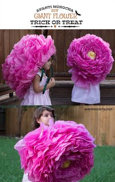 DIY Crepe Giant Flower / Piñata / Halloween Costume / Paper Rose More - Gifted Things Pinata Halloween Costume, Costume Carnaval, Halloween Kostüm, Diy Costumes, Giant Paper Flowers, Diy Flowers, Fabric Flowers, Crepe Paper Roses, Tissue Paper Flowers