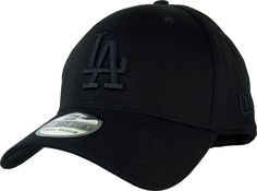 New Era 39Thirty Los Angeles Dodgers League Essential Baseball Cap. Black, with Black LA front logo, and New Era side logo. Stretch fit cap, available in 3 size