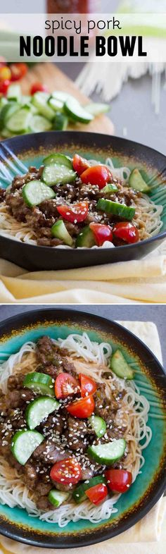 Fast, easy and full of flavor, this Spicy Pork Noodle Bowl recipe is delicious and addictive. Who needs the local noodle place when you can make these at home?: