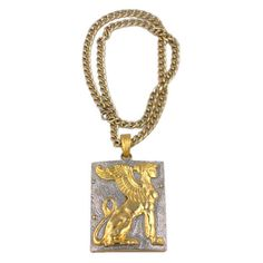 Preowned Alexis Kirk Mythological Pendant ($675) ❤ liked on Polyvore featuring jewelry, pendants, multiple, long pendant, preowned jewelry, wing jewelry, wing pendant and two tone jewelry