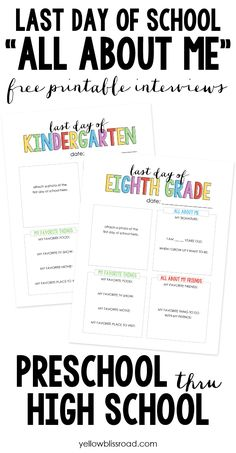 """Spaghetti Salad Back to School """"All About Me"""" Free Printable. Fun for kids to fill out before each school year.Back to School """"All About Me"""" Free Printable. Fun for kids to fill out before each school year. End Of School Year, Beginning Of School, School Days, High School, Middle School, School Stuff, Back To School Kids, School Starts, School Children"""