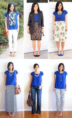 Solid Colored Blouse - Ways to Wear a Cobalt Top- love how different each look is! Xx