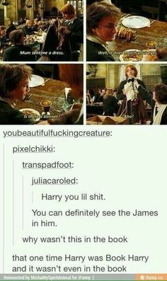The James is showing in you Harry.it would have been really good in the book.he was book Harry but it wasn't in the book as that person said. Harry Potter Jokes, Harry Potter Fandom, Harry Potter World, Harry Potter Book Series, Sassy Harry Potter, Hogwarts, Slytherin, No Muggles, Plus Tv