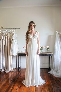 Jennifer Go - Rhea gown, silk georgette with silk satin detailing on neckline