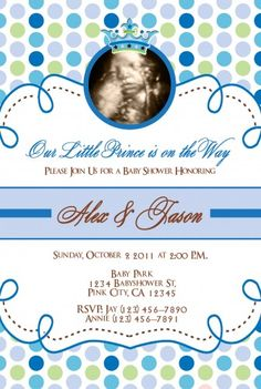 Little Prince And Little Princess Baby Shower Invitations