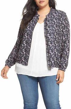 Sejour Floral Print Bomber Jacket (Plus Size)