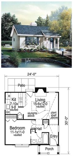 House Plan 86955 | Total living area: 576 sq ft, 1 bedroom & 1 bathroom. This perfect country retreat features a vaulted welcoming entry and an impressive living room with skylights and plant shelf above.