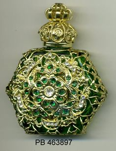Aroma bottle, Perfume Vial, essential oil bottle, Perfume Bottle -  green bottle with gold filigree and freen and clear stones PB 463897 by…