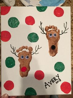 Cute And Fun Christmas Handprint And Footprint Crafts For Ki.- Cute And Fun Christmas Handprint And Footprint Crafts For Kids - Kids Crafts, Daycare Crafts, Toddler Crafts, Preschool Crafts, Craft Activities, Crafts For Babies, Infant Crafts, Toddler Art, Toddler Canvas Art