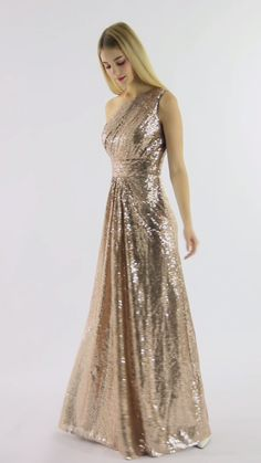 Claire is definitely a dream dress for girls, and the one-shoulder design will make you look more elegant. It is also a great choice for wedding bridesmaid dresses. Gold Bridesmaid Dresses, Designer Bridesmaid Dresses, Lilac Dress, Chiffon Dress, Dress First, The Dress, Godmother Dress, Fairy Godmother, Gold Sequin Dress