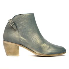 Maddy by Django and Juliette. Add some fun to your wardrobe with these metallic leather ankle boots. Wear them with fitted jeans or opaque stockings so you can show off the buckle detail at the back. Heel height of 6cm. Leather upper and leather lining.