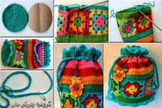Crochet Granny Square bag with pull string.Simple and Easy crochet using Granny SquaresI' ve got my own granny squares!No automatic alt text available.Pinned using PinFace! Crochet Simple, Free Crochet Bag, Crochet Purse Patterns, Crochet Shell Stitch, Knit Or Crochet, Crochet Crafts, Knitting Patterns, Crochet Bags, Crochet Granny