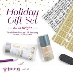 All Is Bright Holiday Gift Set! Lacquer, exclusive Wrap, Pear Nourish Hand Cream & extra Jam Goodies! All for $45  trishgarney.jamberrynails.net