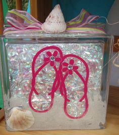 Flip Flop lighted glass block  #BeachWineDesigns