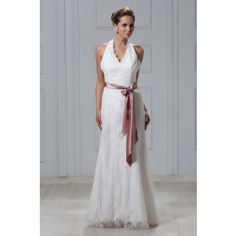 Sheath Halter Ankle-length Lace Wedding Dress WNS0010
