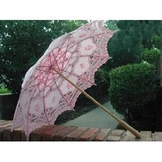 Pink Embroidered Battenburg Lace Parasol for a Lady
