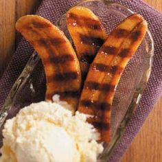 Honey Rum Grilled Bananas    I use coconut rum for this and instead of honey make a syrup of brown sugar and butter.  Yummy