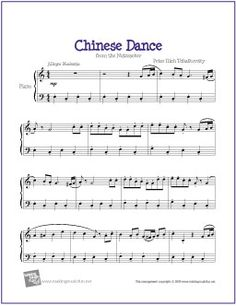 Chinese Dance (Nutcracker) | Free Sheet Music for Piano - http://makingmusicfun.net/htm/f_printit_free_printable_sheet_music/chinese-dance-piano.htm