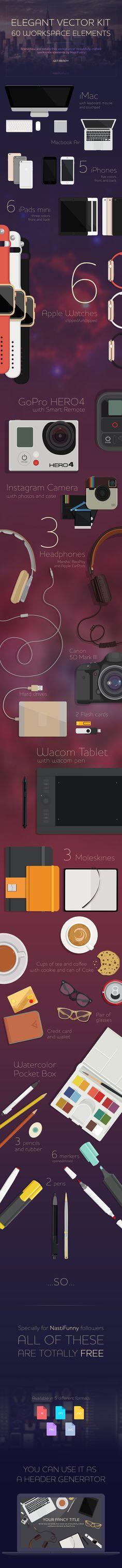 https://www.behance.net/gallery/26241257/FREE-Elegant-Vector-Kit-with-60-Workspace-Elements