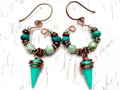 Spikes on Copper Handmade Beaded Wire Earrings by JessicaKlaaren, $32.00