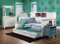 Belmar White Bookcase Day Bed Collection---Great set-up for a teen-girl or maybe a young-lady in college, or first job apt. sharing--I don't know; it's bright cheerful with many possibilities !!!