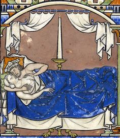 royal bedroom (David and Bathsheba)  'Maciejowski Bible', Paris ca. 1240 (NY, Morgan, MS M.638, fol. 41v)