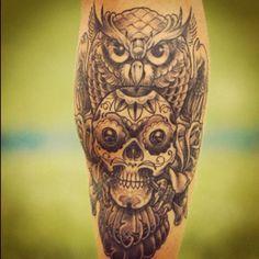 Cool owl sugar skull tattoo